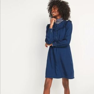 *NWT Ruffle-Yoke Indigo Chambray Shirt Dress